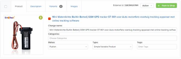 ali2woo import list product tab