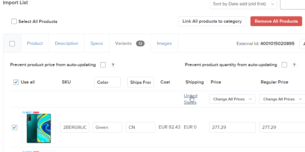 Choose shipping method import list ali2woo