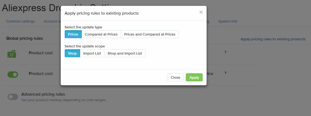 Global price rules apply popup