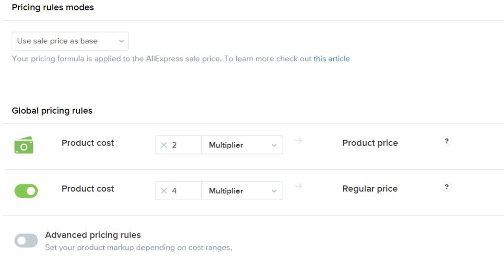 Use sale price as base ali2woo plugin