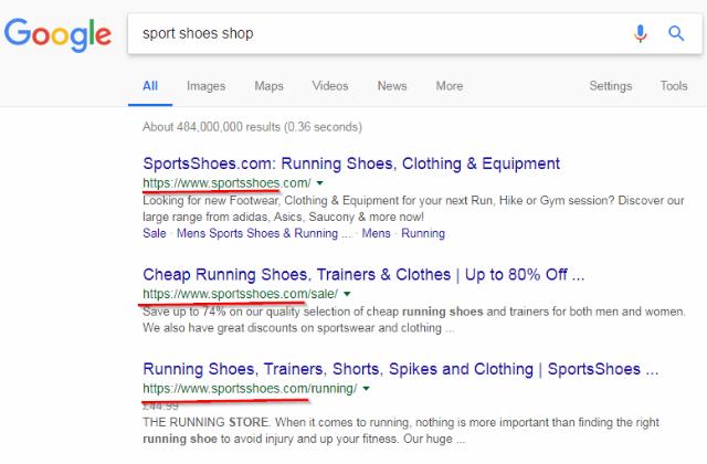 check domain name in google