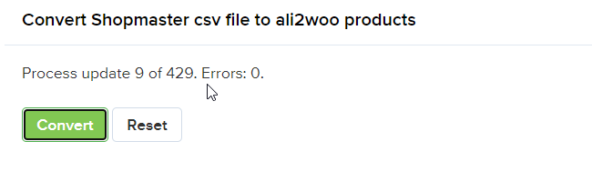 Convert products screen