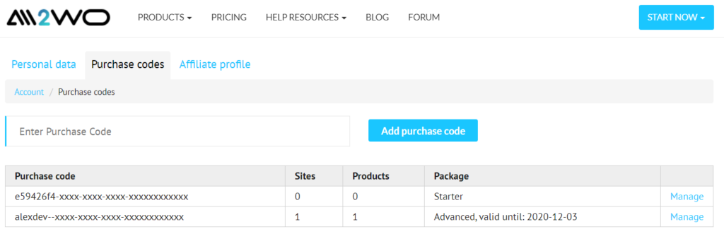 ali2woo account purchase codes