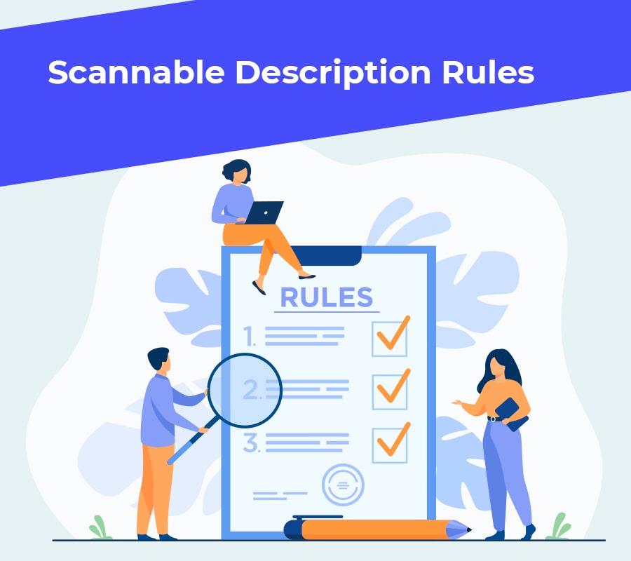 Scannable description rules min