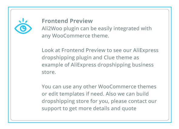 frontend preview link  - frontend preview - AliExpress Dropshipping Business plugin for WooCommerce